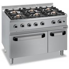Mașină de gătit cu 6x5.5 kW arzătoare, cuptor electric GN 2/1, alimentare gaz, seria Magistra 700
