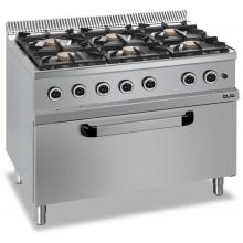 Mașină de gătit cu 6x5.5 kW arzătoare, cuptor gaz maxi, alimentare gaz, seria Magistra 700