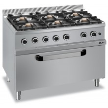 Mașină de gătit cu 6x7 kW arzătoare, cuptor gaz maxi, alimentare gaz, seria Magistra 700