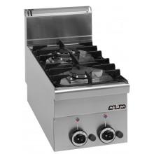 Mașină de gătit de banc, 2.7+3.15 kW arzătoare, alimentare gaz, seria Minima 600