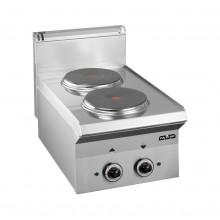 Mașină de gătit de banc, 2 plite rotunde, 2x2.6 kW, alimentare electrică, seria Smart 650