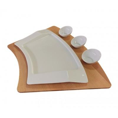 Set platou compus din tava servire, farfurie si sosiere din portelan, culoare alba.
