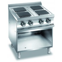 Mașină de gătit cu 4 plite pătrate 4x2.6 kW, suport deschis, alimentare electrică, seria Domina 700
