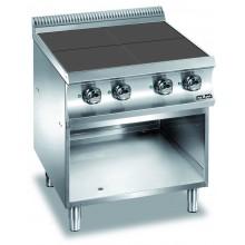 Mașină de gătit cu 4 plite pătrate 4x2.5 kW, suport deschis, alimentare electrică, seria Domina 700
