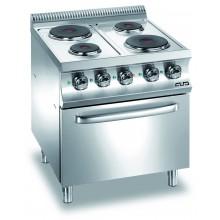 Mașină de gătit cu 4 plite rotunde 2x1.5+2x2.6 kW, cuptor electric GN 2/1, alimentare electrică, seria Domina 700