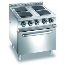 Mașină de gătit cu 4 plite pătrate 4x2.6 kW, cuptor electric GN 2/1, alimentare electrică, seria Domina 700