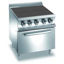 Mașină de gătit cu 4 plite pătrate 4x2.5 kW, cuptor electric ventilat GN 1/1, alimentare electrică, seria Domina 700