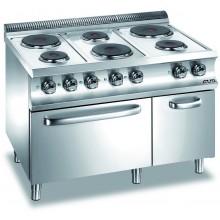 Mașină de gătit cu 6 plite rotunde 3x1.5+3x2.6 kW, cuptor electric GN 2/1, alimentare electrică, seria Domina 700