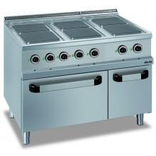 Mașină de gătit cu 6 plite pătrate 6x2.6 kW, cuptor electric GN 2/1, alimentare electrică, seria Domina 700