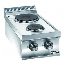 Mașină de gătit de banc, 2 plite rotunde 1.5+2.6 kW, alimentare electrică, seria Domina 700
