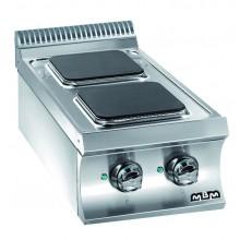 Mașină de gătit de banc, 2 plite pătrate 2x2.6 kW, alimentare electrică, seria Domina 700