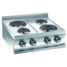 Mașină de gătit de banc, 4 plite rotunde 2x1.5+2x2.6 kW, alimentare electrică, seria Domina 700