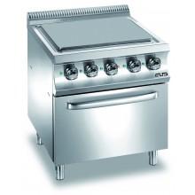 Mașină de gătit cu plită integrală 4x2.5 kW, cuptor electric GN 2/1, alimentare electrică, seria Domina 700