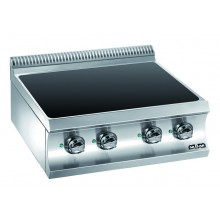 Mașină de gătit cu plită integrală ceramică 2x1.8+2x2.5 kW, încălzire infraroșu, de banc, alimentare electrică, seria Domina 700