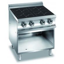Mașină de gătit cu plită integrală 4x3.5 kW, încălzire inducție, suport deschis, alimentare electrică, seria Domina 700