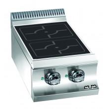 Mașină de gătit cu plită integrală 2x3.5 kW, încălzire inducție, de banc, alimentare electrică, seria Domina 700